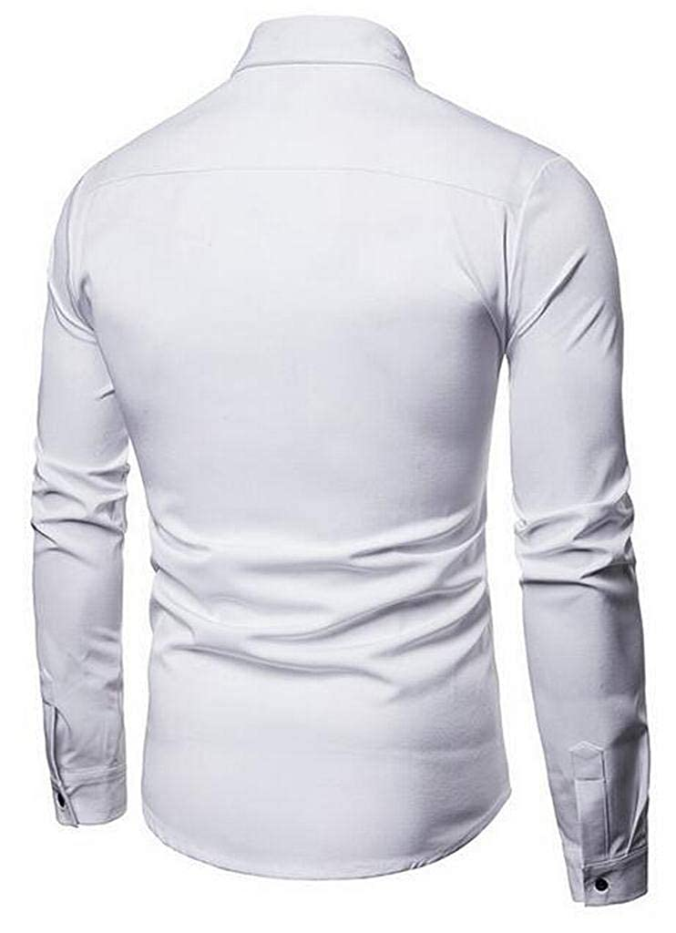 Suncolor8 Mens Button Up Christmas Stripe Loose Long Sleeve Dress Work Shirt