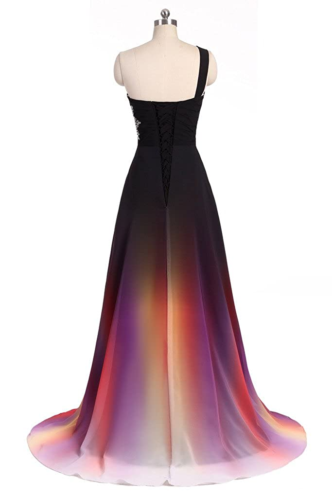 Angela One Shoulder Ombre Long Evening Prom Dresses Chiffon Wedding
