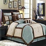 Luxurious KING Size 12 Piece BLUE MORGAN Comforter Set with Comforter, Pillow Shams, Decorative Pillows, Bed Skirt, & BONUS Bed Sheet Set, Color Style Blue Brown Ivory
