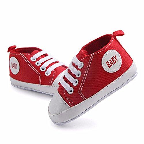 15 Zapatillas Primeros Meses Pasos Zapatos Niño Baby Sólido Lona De Color Bebe Cordones Antideslizantes Niña Rojo Con 3 Ud6PU