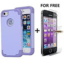 iPhone SE Cases, NOKEA 2in1 Hybrid Case for Iphone 5S. Hard Cover for Iphone 5 Printed Design Pc+ Silicone Hybrid High Impact Defender Case Combo Hard Soft with Free Tempered Glass (lavender Purple)