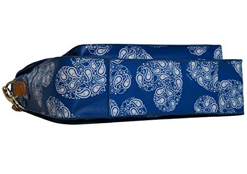 e Borsa Fantasia damascata Tracolla Manico Rigido Modello Blu Oleari Naj con Grande Cartella Donna Removibile fgzx5wFq