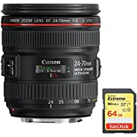 Canon EF 24-70mm F/4L IS USM Standard Zoom Lens (6313B002) with Sandisk 64GB Extreme SD Memory UHS-I Card w/ 90/60MB/s Read/Write