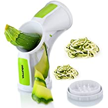 Gourmia GSS9275 Tri-Blade Spiral Slicer Vegetable Spiralizer With 3 Built-In Slicing Blades Great for Cucumber, Carrot, Zucchini & Veggie Spaghetti, Durable BPA free food safe material