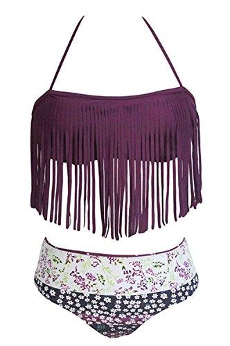 Sidefeel Women Halter Fringed Floral Printed Padded Set Tassel Bikini Swimwear Large Dark Purple