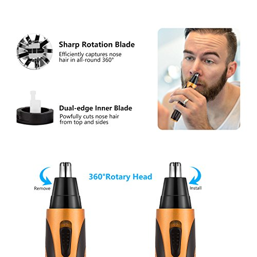 Nose Hair Trimmer, [Newest Version] USB 4 in 1 Rechargeable waterproof Nose Sideburn Eyebrow Beard Ear Hair Trimmer for Men & Women by Sportsman (Image #1)