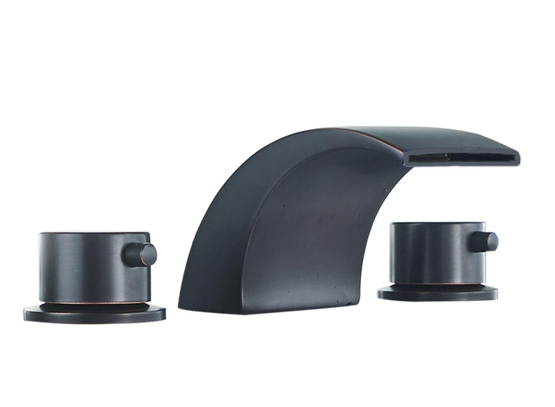 Aquafaucet 8-16 Inch Led Waterfall Widespread Bathroom Sink Faucet Oil Rubbed Bronze 2 Handles 3 Holes by Aquafaucet