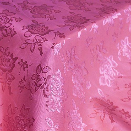 Floral Jacquard Brocade Satin Fabric by the Yard (Fuschia)