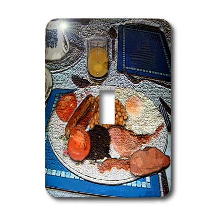 Pudding Sausage (3dRose LLC lsp_44648_1 Traditional English Breakfast of Juice, Beans, Blood Pudding, Fried Eggs, Sausage and Tomato's Textured Single Toggle Switch)