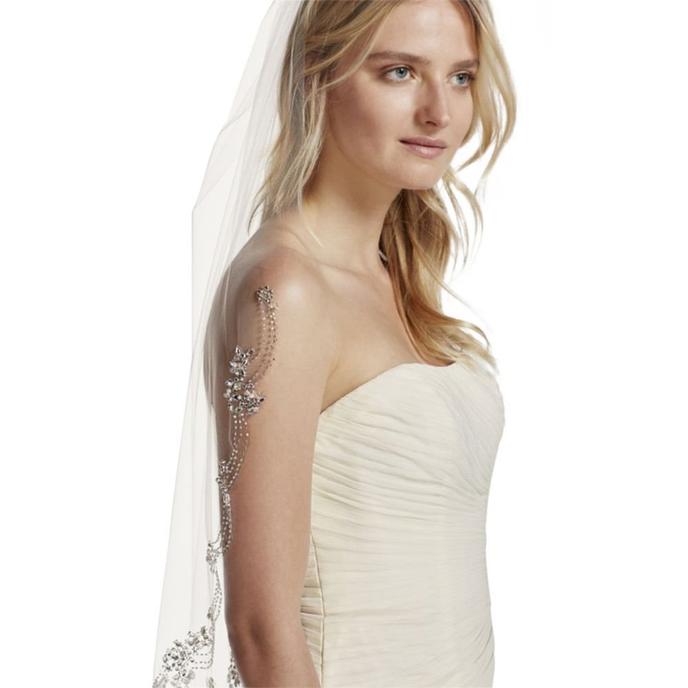 Dripping Crystals Veil Style V1106, Ivory by David's Bridal