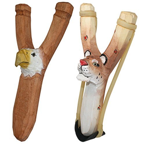 Hand Carved Eagle (BUY ONE GET ONE FREE - NATURE LAUNCHERS - Hand-Carved Wooden Slingshot - 2 PACK - Cheetah and Eagle)