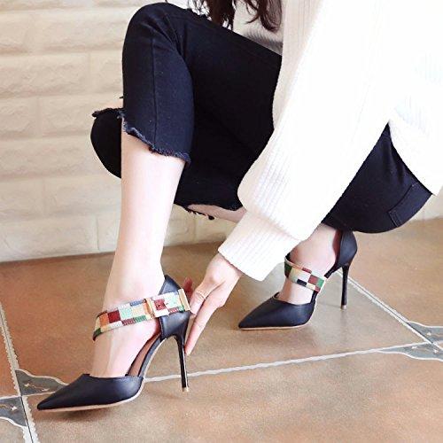 black Au Chaussures Des Mince Chaussures ZHUDJ Forte Faible Talons Faible Talons Hauts Printemps Orthographié Minces 64qwpH