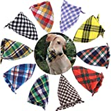 TAOBABY Boys/Girls 8PCS/Pack Pet Puppy Dog Cat Bandanas Dog Classic Plaid Patterns Scarf Small,Medium Size Dog,Large Cats (Boys Colors)