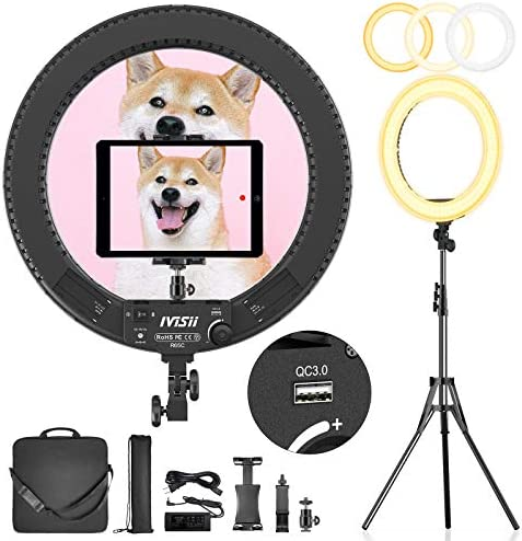 Ivisii Ring Light 18 inch with Stand and Phone Holder & Ball Head, Bi-Color 3000-5800K, Big Ring Light with Stand for Makeup, Live Streaming, YouTube, Vlog, Photography with Phones, Camera, Tablets