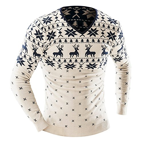 YUZHONGYWAN Men Christmas Sweater Jumper V Neck Deer Pattern Slim Fit Knitted Knitwear BeigeXX-Large by YUZHONGYWAN Pullover-sweaters