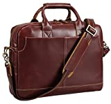 Polare Men's Thick Authentic Genuine Leather 17'' Laptop Case Bag Briefcase (Burgundy)