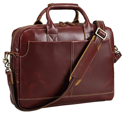 Polare Men's Thick Authentic Genuine Leather 17'' Laptop Case Bag Briefcase (Burgundy) by Polare