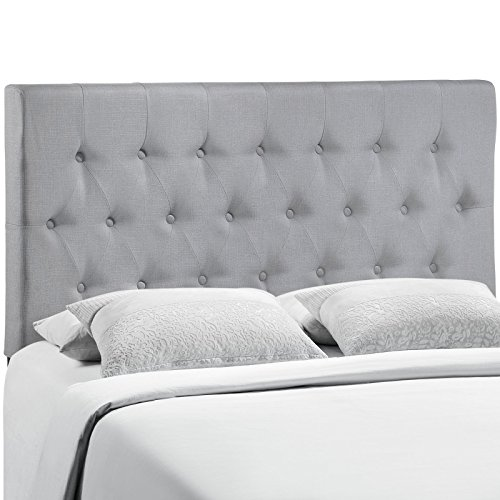 Manhattan Full Headboard - Modway Clique Tufted Button Diamond Pattern Linen Fabric Upholstered Full Headboard in Gray