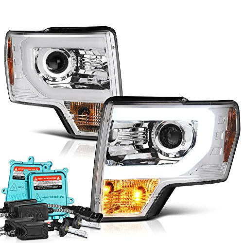 [Built-In 55Watts Canbus King Xenon HID Bulbs Low Beam] - VIPMotoZ 2009-2014 Ford F-150 OLED Fiber Optic Tube Headlights Headlamps, Driver and Passenger Side