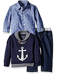 Nautica Baby Boys' Three Piece Set with Woven Shirt, Anchor Sweater and Pant