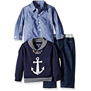 Nautica Baby Three Piece Set with Woven Button Down Shirt, Anchor Sweater and Denim Jean, Sport Navy, 6-9 Months