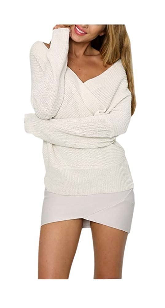 6c0a6a8b9e9 ARJOSA Women s Shoulderless Deep V Neck Club Pullover Sweater at Amazon  Women s Clothing store