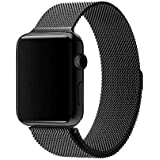 Milanese Loop Watch Band for 42mm/44mm For Apple Watch, Stainless Steel iWatch Replacement Strap - Black