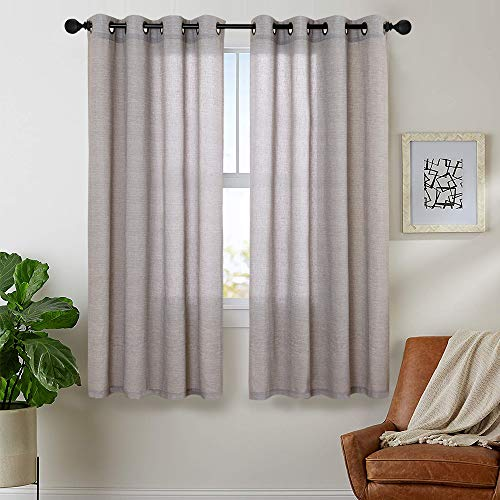 (Linen Cotton Blend Curtains for Living Room Long Window Curtains Privacy Flax Linen Look Window Treatment Set for Bedroom Grommet Top 2 Panels 63 inches Soft Grey)