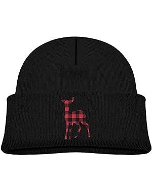 Kids Humor Deer Shape Red And Black Plaid Pattern ...