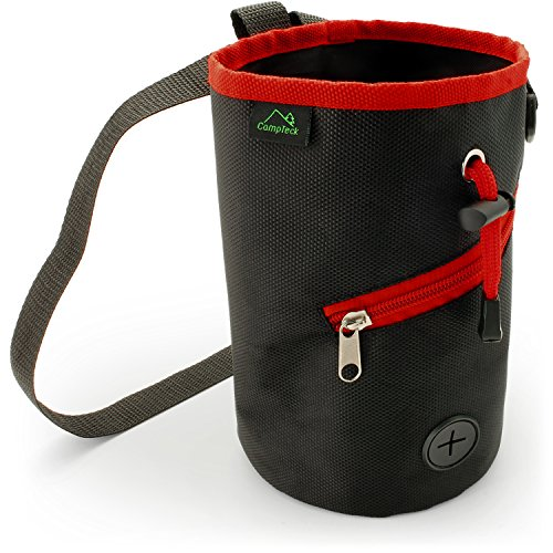 CampTeck Drawstring Chalk Bag for Rock Climbing, Bouldering, Gymnastics, Weightlifting & much more - Black