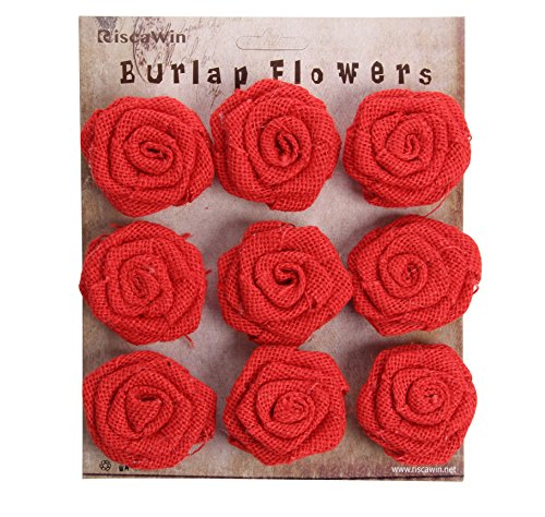 Burlap Flowers Packs Wedding Decorations, RiscaWin Burlap Rose Scrapbooking or Crafts Rosette Embellishments- 9 roses per pack(Red)