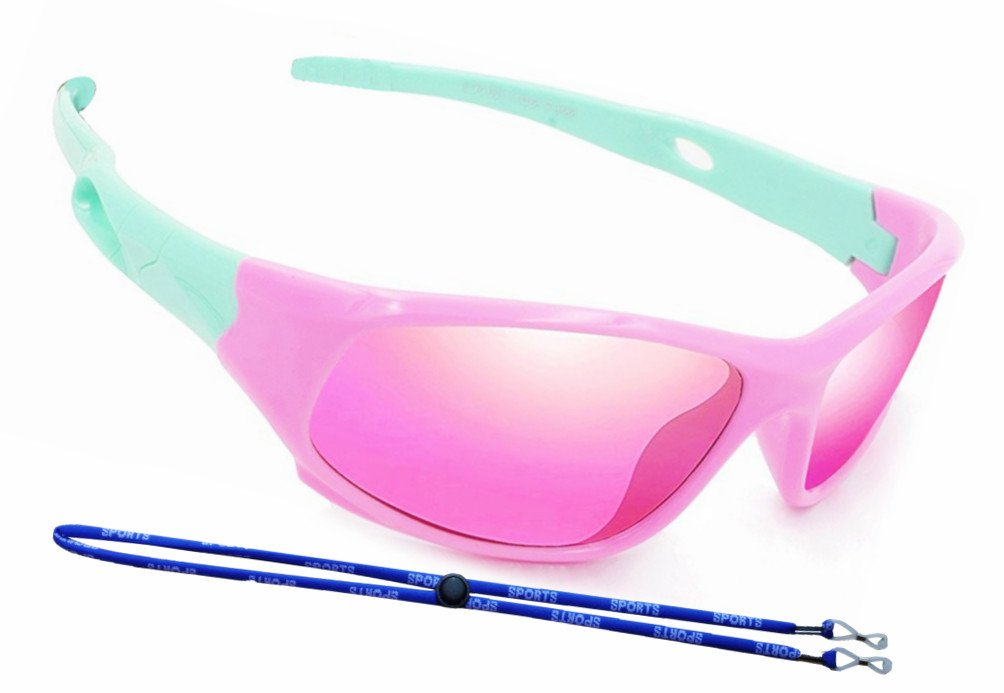 COOLSOME Bendable Rubber Kids Polarized Aviator Sunglasses Boys Girls Sunglasses Fit Age 4-10 Yrs (Sport Pink A)