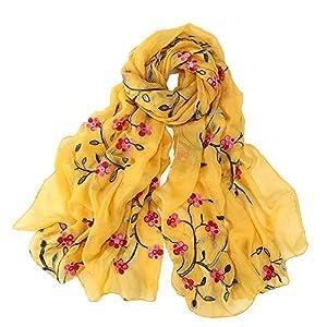 Pluto & Fox Fular De Mujer Bordado Con Flores Bufanda De Seda Diseño Retro Elegante Pañuelo cuello Estola | DeHippies.com