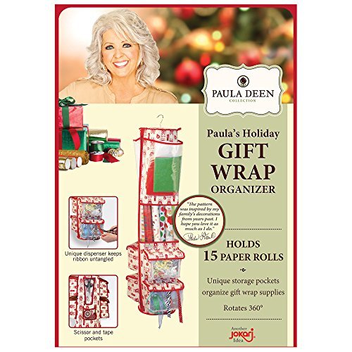 Paula Deen Round Gift Wrap Organizer - Heavy Duty Storage for Wrapping Paper, Gift Bags, Bows, Ribbon and More - Organize Your Closet with this Hanging Bag & Box to Have Organization, Clear Pockets by Paula Deen