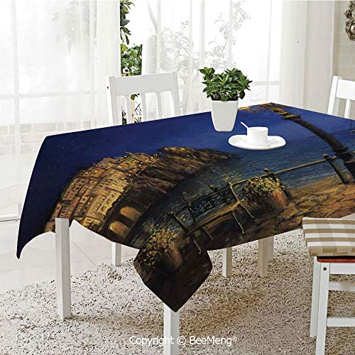 Table Outdoor Bar Amalfi (BeeMeng Dining Kitchen Polyester dust-Proof Table Cover,Italy,Starry and Romantic Evening at The Coast of Amalfi in Italy Oil Painting Style,Navy Blue Brown,Rectangular,59 x 59 inches)