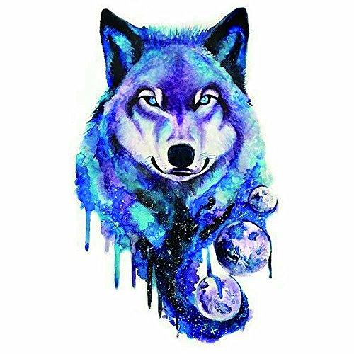 (WYUEN 5 Sheets Colorful Wolf Head Temporary Tattoo Women Body Art Tattoo Sticker For Men Fake Waterproof Sticker 9.8X6cm FA-315)