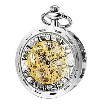 533ffb99db3a ManChDa Hombres Transparente Abierto de la Cara Reloj de Bolsillo ...