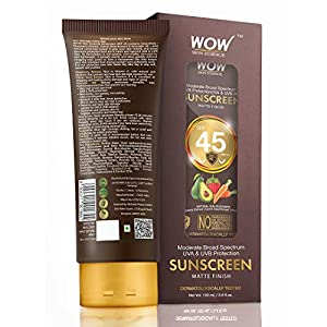 WOW Skin Science Matte Finish Sunscreen Lotion Spf 45 Pa++ – All Skin Type Compatible – No Parabens, Silicones, Mineral…