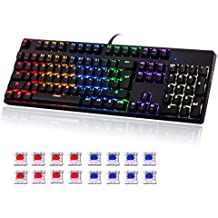 SENDOW Mechanical Gaming Keyboard 104 Keys with Blue Switches Backlit Wired with Tactile & Clicky No Conflict for PC Games CS GO H1Z1 DOTA Etc