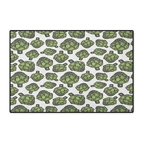 "Artichoke,Door Mats For Home,Detailed Drawing of Super Foods Fresh Vitamin Sources Natural Nutrition Source,Door Mats For Inside Doorroom Mat Non Slip Backing,Forest Green,Size,20""x32"" (W50cm x L80cm)"
