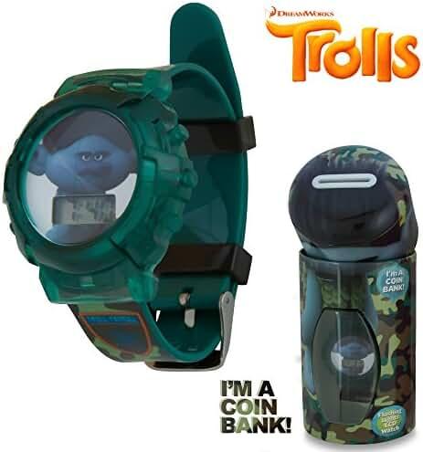 DreamWorks Trolls Kids Green Camo LCD Flashing Lights Wrist Watch in a Coin Bank