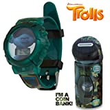 DreamWorks Trolls Kids Green Camo LCD Flashing Lights Wrist Watch in a Coin Bank