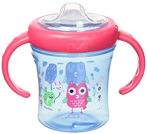 Gerber Graduates Advance with Seal Zone 2 Handle Trainer Spout Sippy Cup, 7-Ounce, Colors and Designs May ()
