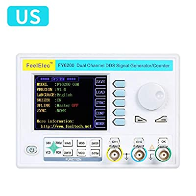 "Leepesx FY6200-60M 60MHz Function Signal Generator 3.2"" LCD Digital DDS Dual-channel Function/Arbitrary surgeform Generator Pulse Signal Source 250MSa/s Frequency Meter High exactness Signal"