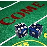 Cyber-Deals Wide Selection Craps Bundle Set: Las Vegas Style Felt Layout + Pair 19mm Authentic Nevada Casino Table-Played Dice (Binion's (Blue Polished))