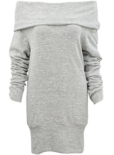 Achicgirl Pullover Sleeve Turtleneck Loose Shoulder Grey Sweater Long Off xBxf17A