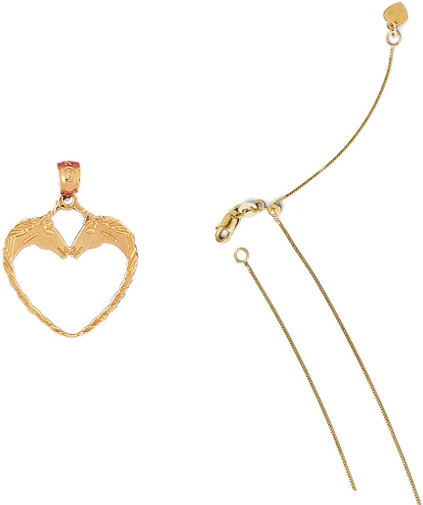 14K Yellow Gold Unicorn Heart Pendant on an Adjustable 14K Yellow Gold Chain Necklace