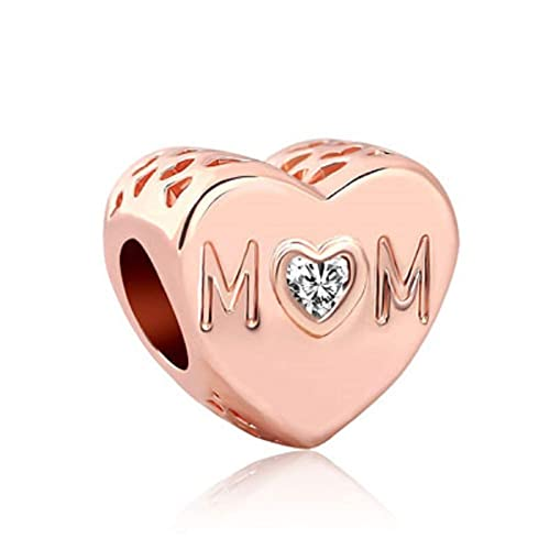 4c66da3a2 Amazon.com: SUNWIDE Mom Mother Heart Love Charms Rose Gold Bead Charms fit  Pandora Charms Bracelets: Jewelry