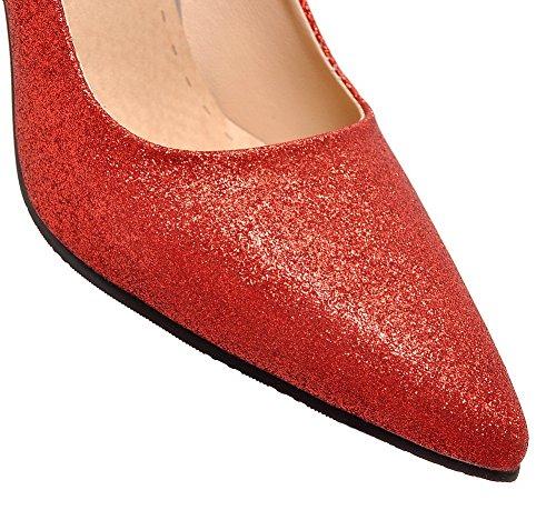Allhqfashion Womens Tacchi Alti Con Paillettes Solide Pull-on Scarpe A Punta Chiuse Scarpe-rosso