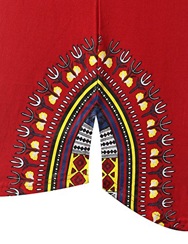 URBANCREWS Mens Hipster Hip Hop Dashiki Graphic Longline T-Shirt RED Medium by URBANCREWS (Image #3)